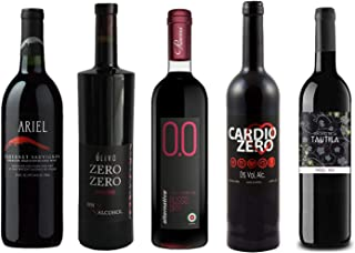 Red Wine Sampler - Five (5) Non-Alcoholic Wines 750ml Each - Featuring Ariel Cabernet Sauvignon, Zero Deluxe Red, Cardio Zero Red, Rosso Dry, and Tautila Tinto