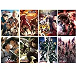 Attack on Titan Poster AOT Poster Japanese Anime Poster Art Prints for Home Wall Decor, Set of 8 PCS,11.5in x16.5in, (Attack on Titan)