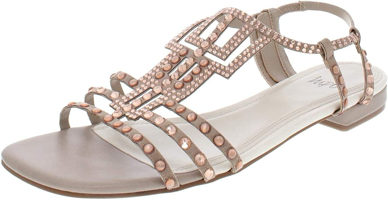 Impo International Womens Annette Faux Suede Studded Flat Sandals