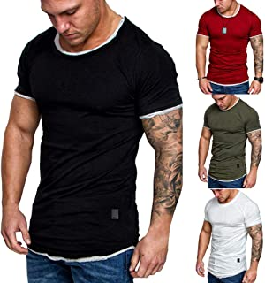QixinWluo Mens Fashion Casual Sport Solid Color Splice Short Sleeve Summer T-Shirt Tops Blouse