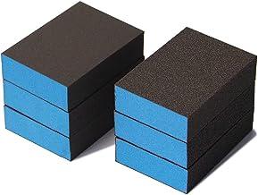 6 Pack Sanding Sponge, Coarse/Medium/Fine 6 Different Specifications Sanding Blocks Assortment,60/80/100/120/180/220 Grit,...