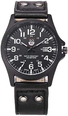 Fashion Clearance! Noopvan Mens Waterproof Date Leather Strap Sport Quartz Army Watch Vintage Classic Wristwatch