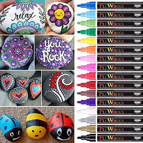Acrylstifte Marker Stifte,16 Farben Wasserfeste Acrylstifte für Steine Bemalen Holz Glas Porzellan Kinder Schwarzes Papier Metall Keramik Kunststoff Leinwand