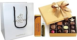 Godiva Chocolatier Gold Ballotin Classic Gold Ribbon, 19 Pieces with Solid Milk Chocolate Bar, Godiva Gift Bag and a Jarosa Bee Organic Chocolate Bliss Lip Balm