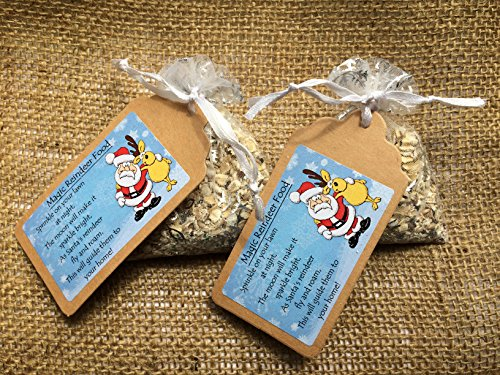 M&B Stix Pix 2 x Bags of Magical Handmade Reindeer food - A snack to leave for Rudolph and his friends on Christmas Eve - White bag with snowflakes! Wildlife friendly!!