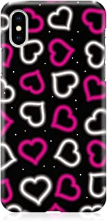 Loud Universe Case for iPhone XS Wrap around Edges Valentines Day Couples Neon White Pink Love Heart Pattern Sleek Design ...