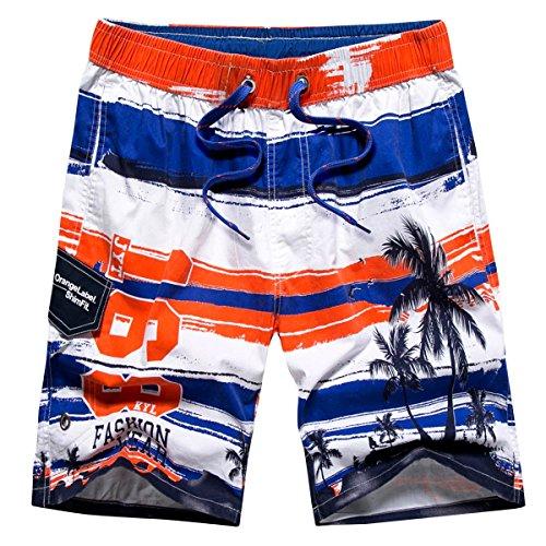 Tailor Pal Love - Pantaloncini da spiaggia traspiranti estivi da uomo, pantaloni corti da sport, per surf, nuoto, bermuda, costume da bagno ad asciugatura rapida, colore: arancione, taglia L