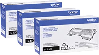 Brother Genuine High Yield Toner Cartridge, TN450, Replacement Black Toner, Page Yield Up to 2,600 Pages 3-Toner Cartridges