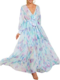 Womens Boho Floral Chiffon Deep V Neck Wrap Long Sleeve Flowy Party Maxi Dresses with Belt