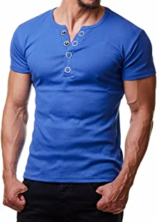 Fashion Men Button Blouse Short Sleeve Pollover Solid Tops Soft T-Shirt Casual Sweatshirt