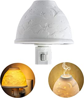 Warm Night Light Ceramic Night Light Porcelain Night Light Kimfly Art Night Light Plug in with Essential Oil Aromatherapy Furnace and Incandescent Bulb, Suit for Bedroom, Living Room, Hallway