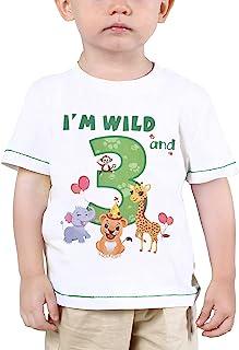 3er Camiseta Cumpleaños Niño Animales de Selva Cumpleaño Manga Corta