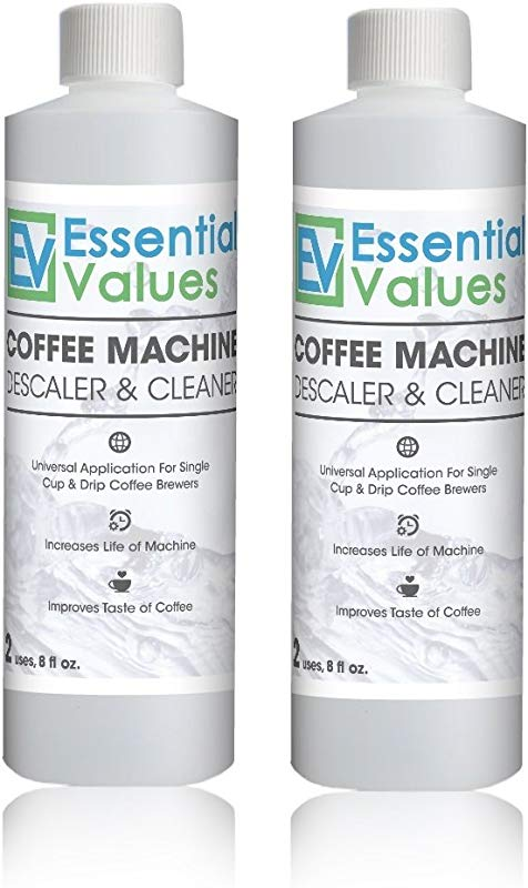 Essential Values Universal Descaling Solution 2 Pack 4 Uses Total Designed For Keurig Nespresso Delonghi And All Single Use Coffee And Espresso Machines Proudly Made In USA