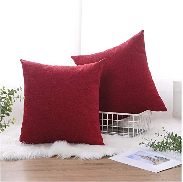 HOMEPLUS Sparkle Throw Pillow Covers With Chenille Fabric 2 Pack 17X17 For Christmass Festival Square Cushion Cover Red