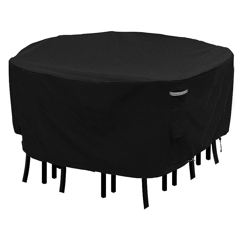 スナップベスビオ山助言するRound Patio Table and Chair Set Cover Durable and Waterproof Outdoor Furniture Cover(Black, 180cm D x 60cm H)