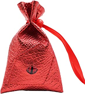 LEILIVE-US Drawstring Pouch PU Leather Dragon Eye Dice Bag / Rune Bag - D&D, Pathfinder, Futhark, LARP, Cosplay, Critical Role (Red)