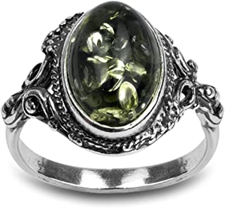 Sterling Silver Green Yellow Amber Oval Ring