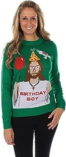 Women's Ugly Christmas Sweater - Happy Birthday Jesus Sweater Green