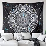 Mandala Star Tapestry Wall Hanging for Bedroom, Black and White Wall Tapestry Indian Hippie Bohemian Tapestries Living Room Dorm Decor Cloth 59 x 82 in