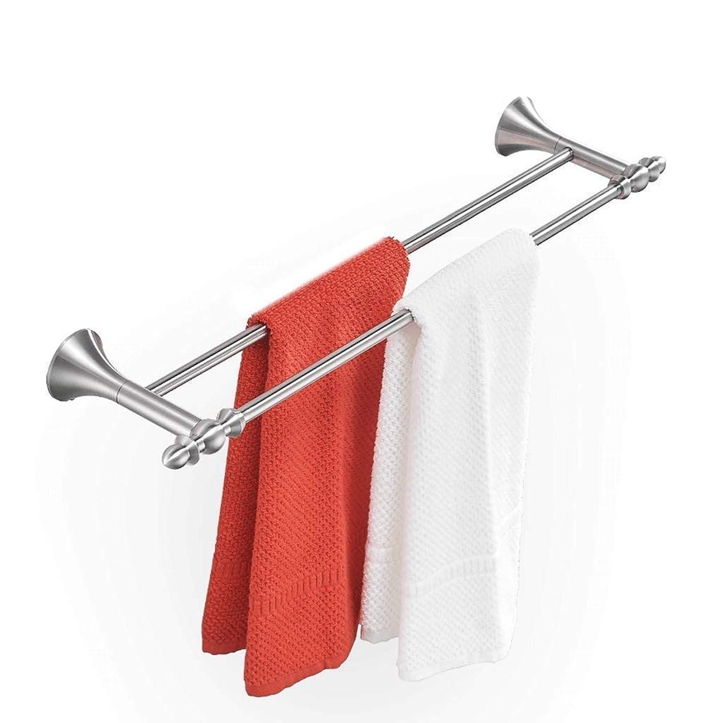有益マニュアル優遇タオルラック、パンチのない304ステンレススチールブラシタオルバーバスルームバスルームダブルポールロングタオルラック浴室ペンダント