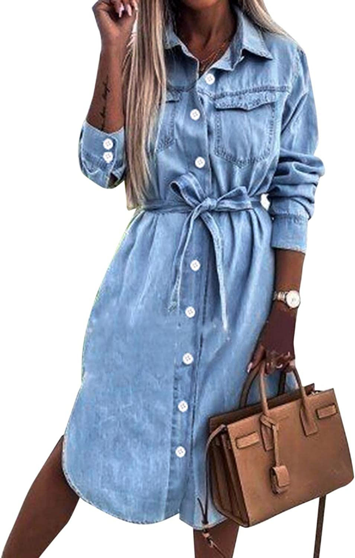 Denim Shirt Dresses for Women Long Sleeve Tie Waist Jean Dress Button Down Casual Tunic Top Denim Dress with Pockets