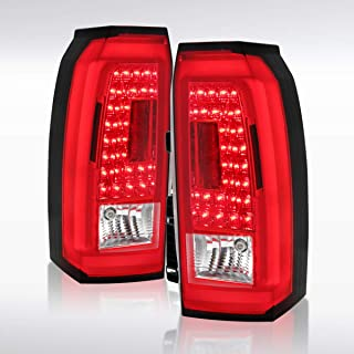 Autozensation For Red GMC Yukon XL LED Rear Tail Lamps W/LED Tube Brake Lights Pair L+R