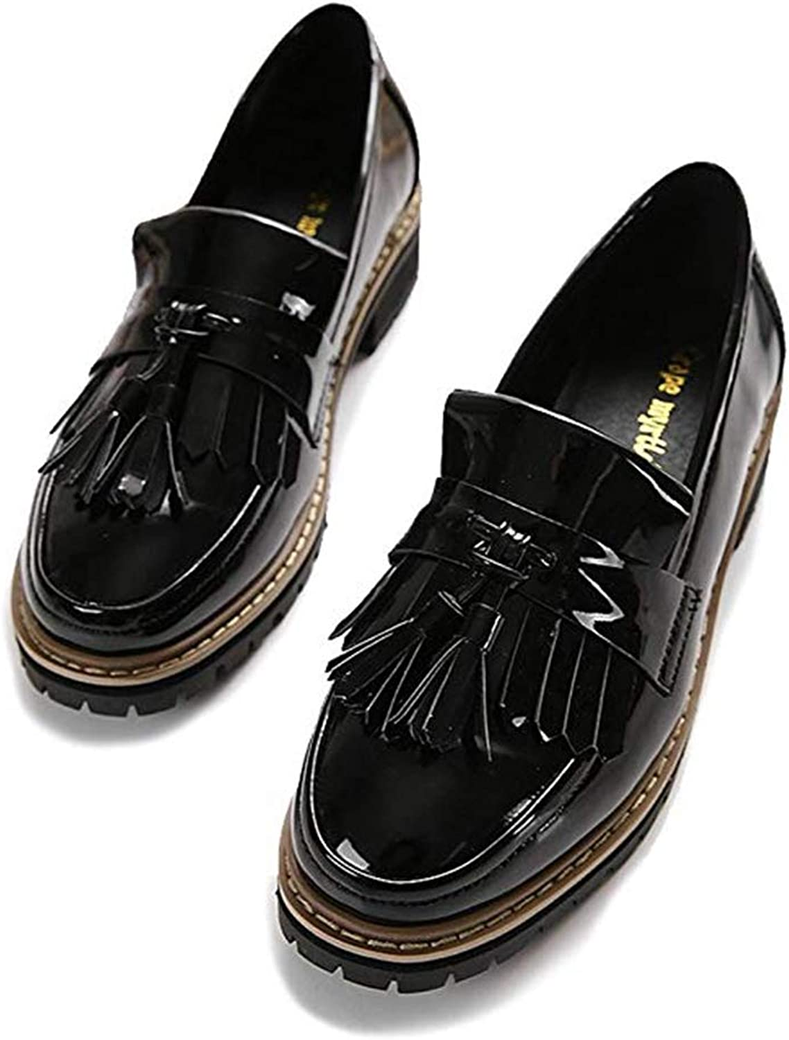 T-JULY 2018 Tassels Oxford shoes for Women Slip on Mid Heel Loafers Casual Oxfords Thick Flat Dress shoes