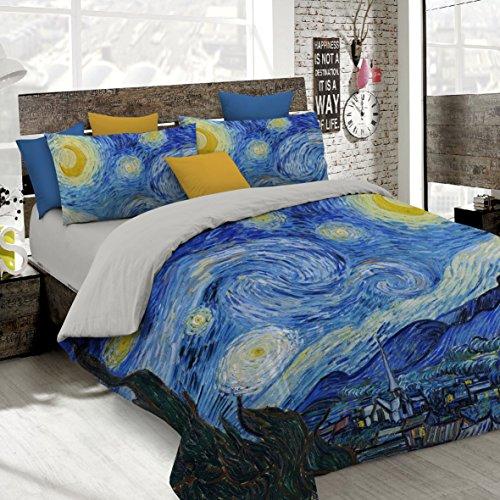 Italian Bed Linen Parure Copripiumino con Stampa Digitale a Copertura Totale Sul Sacco e Sulle Federe 2 Posti 100% Cotone, Multicolore (SD09), 250x200x1 cm