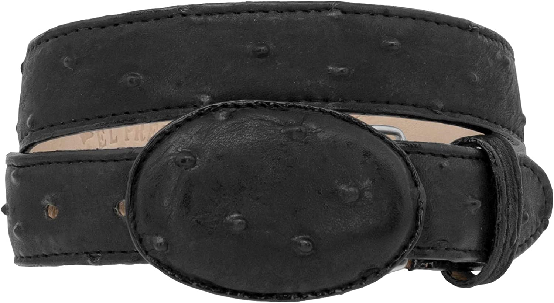 Kids Cowboy Western Belt Black Ostrich Pattern Leather Round Buckle 20