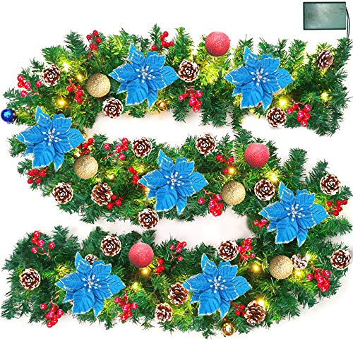 9 Foot Prelit Christmas Poinsettia Garland with 50 Lights,Battery Operate Lighted Xmas Garland with Ball Ornament Gold Red Berry Pine Garland Xmas Holiday Decoration Indoor Mantle, Warm White(Blue)