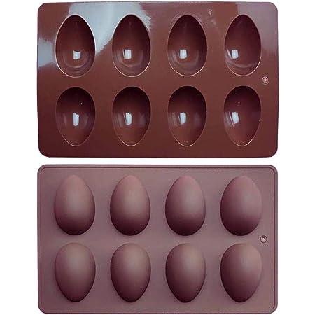 LILEI Molde de Silicona para Huevos de 8 Tazas, Molde de Silicona para Manualidades, Molde de Arcilla de Chocolate para Tartas, Molde de Media Esfera de Pascua para Tartas, Galletas, gelatina, pudín
