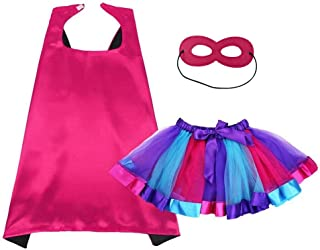 Kids Superhero Cape and Mask Tutu Skirt for Girls Dress Up Party Costume
