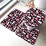 SIBIT Pink Objects Bath Mat Hand Painted Heart Bow Tie Candy Shoes Air Balloon Sweet Love Bathroom Mat 3 Piece Set Non-Slip Bathmat Antiskid Pad Doormat and Toilet Lid Cover Set