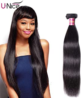UNice Hair Icenu Series 8A Brazilian Straight Virgin Hair 1 Bundle Unprocessed Human Hair Extensions Weave Natural Color (20, 1B color)