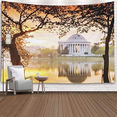 Tapiz de dormitorio, tapiz de arte de pared para colgar en la pared, tapiz al aire libre, memorial durante el festival de los cerezos en flor, Washington Dc, tapiz fresco para dormitorio, tapiz modern
