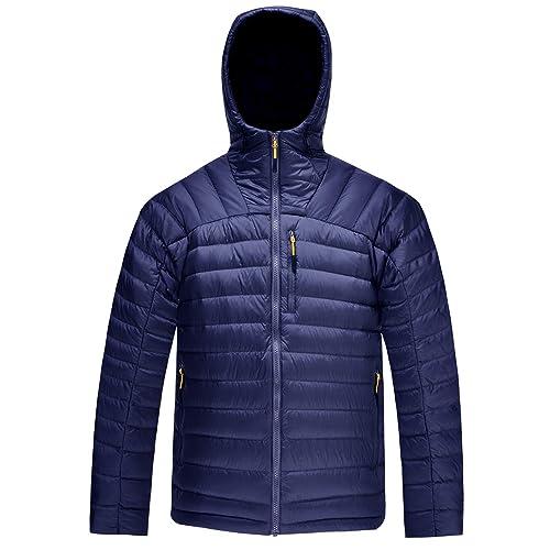 d2d39efd8e621 HARD LAND Men s Packable Down Jacket Hooded Lightweight Winter Puffer Coat  Outerwear