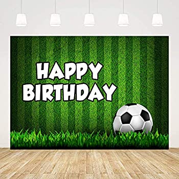 MEHOFOND Soccer Theme Birthday Party Backdrop Decoration for Boy Green Grass Soccer Field Football Stadium Photography Background Banner Photo Studio Props Vinyl 5x3ft