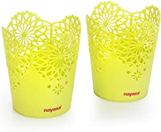 Nayasa Lacy 2 Piece Plastic Tall Basket Set, Green