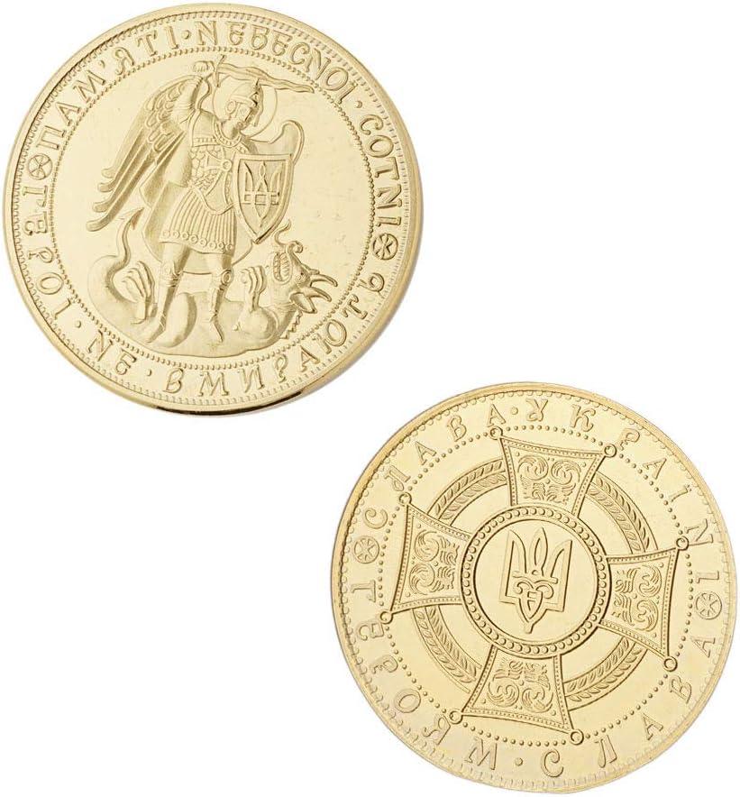 Ukraine,Dragon Knight,Pi/èces De Monnaie Comm/émoratives,Trident,Embl/ème,Bouclier,Guerrier,Plaqu/é Or,De Haute Qualit/é,Beau,Collections Ouvrages DArt//dor//A