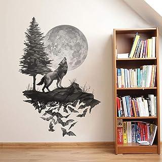 Runtoo Pegatinas de Pared Lobo Luna Stickers Adhesivos Vinilo Árbol Negro Decorativas Salon Habitacion Bebe Dormitorio