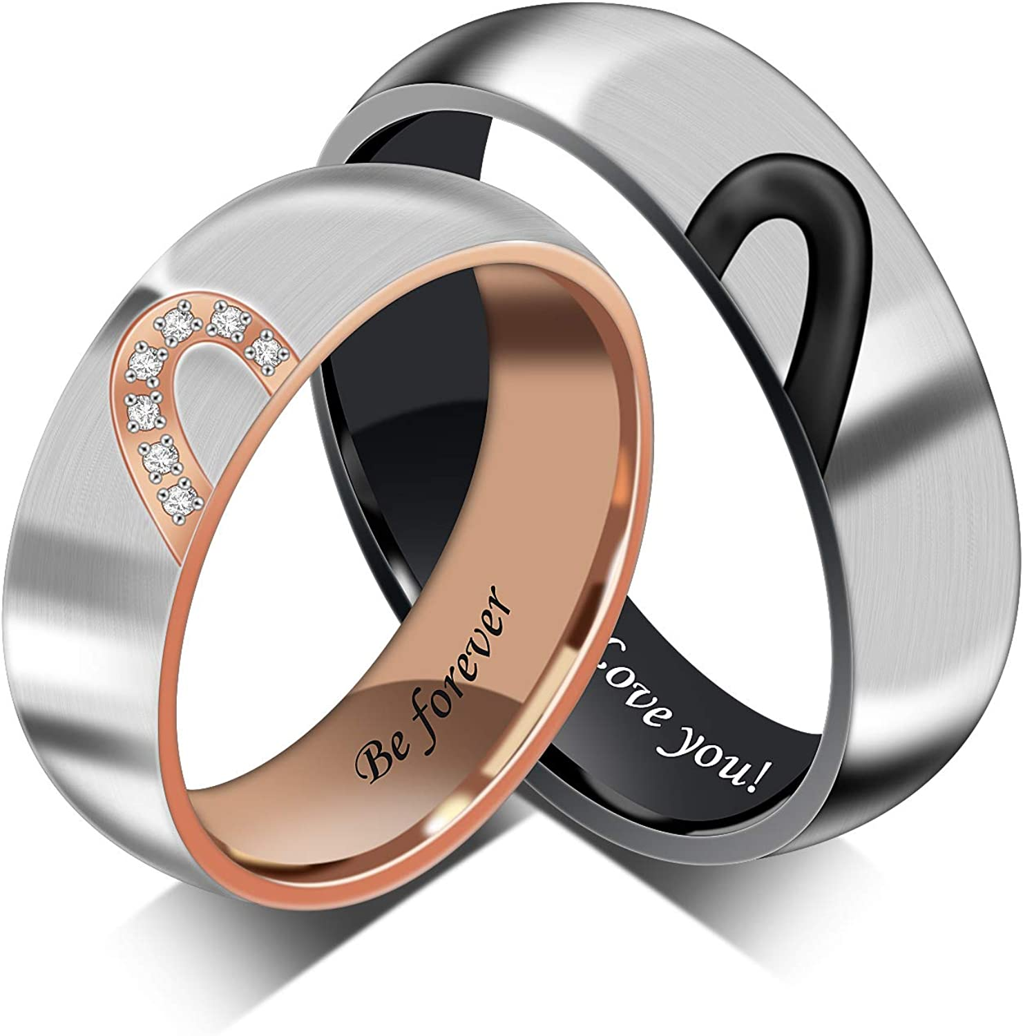 Personalized Promise Rings for Couple Wedding Rings set for Him and Her Heart Rings Stainless Steel