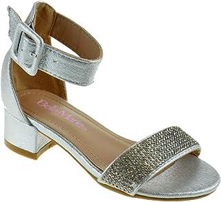 d40e6ad41e48c Belle Marie Basset K Little Girls Rhinestone Open Toe Heeled Gladiator  Sandals