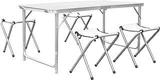 comprar comparacion HOMFA Mesa plegable camping Mesa playa Mesa de jardín Mesa para picnic con 4 sillas ajustables Mesa para acampada Blanco 1...