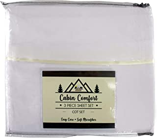 Camp Cot Size Bed Sheet Set - Summer Camp/RV Cot Size Bedding - 3 Piece Set - 28 Inches x 72 Inches - White