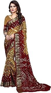 Indian Traditional multi Bandhej Art Silk Zari weaving Festival Bandhani Printed Saree Blouse Sari 6316