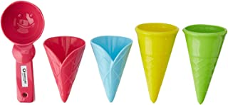 Spielstabil Ice Cream Duo in net - 4 Plastic Cones & Scooper for Use in The Sand or with Real Food (Made in Germany)