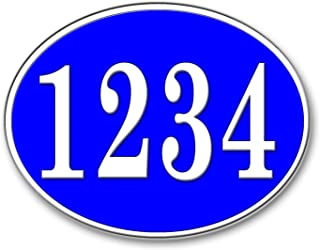 Curb-N-Sign Highly Reflective Oval Address Plaque, Flexible Plastic Design for Easy Installation to Any Surface (Blue)