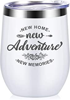 New Adventures New Home New Memories - House Warming Presents Housewarming Gifts For Women - First Time New Home House Owner Homeowner Gifts for Men, Friends - 12 oz Wine Tumbler Cup with Lid - White