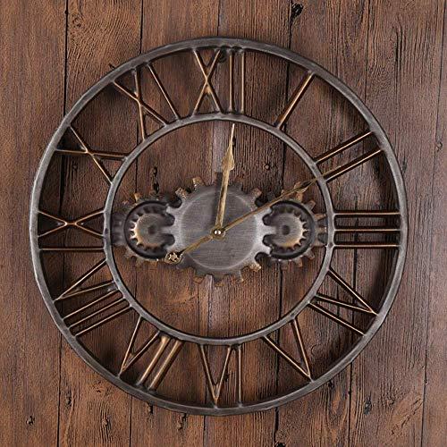 Kyman Vintage-Wanduhr, Zahnraduhr, Dekoration, kreative Uhr für Zuhause, Wohnzimmer, Bar, Metall-Quarz-Uhr (45 x 45 x 5 cm)