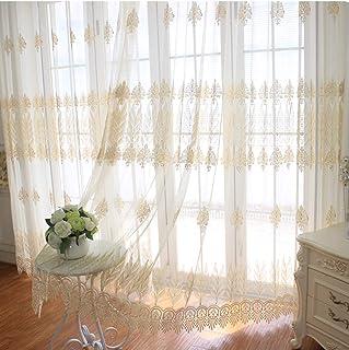 LIDUO High-End Goldstickerei Vorhänge,Semi Sheer Vorhänge,Haken -1 Panels/Villa Wohnzimmer,Balkon,Boden Vorhang